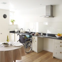 The Stable with wheelchair in kitchen